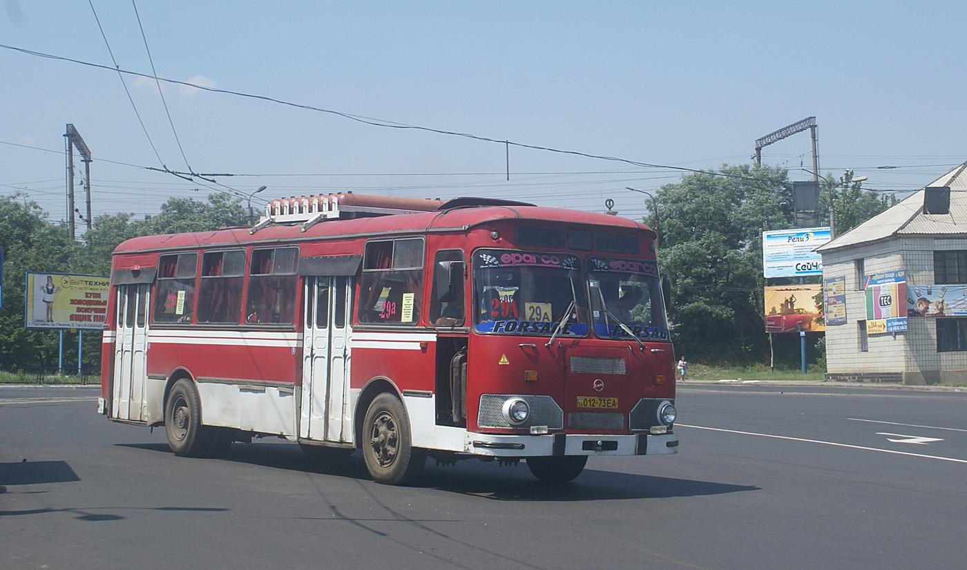 ЛиАЗ-677М №012-73 ЕА, маршрут №29А. Донецька область, Горлівка